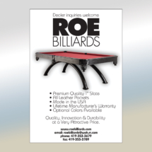 Roe Billiards Ad